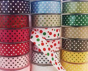 Polka-Dot-Spots-Print-Arts-Craft-Bow-Gift-Wrap-Tape-Grosgrain-Dress-Ribbon-38mm