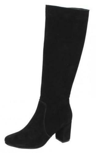 Ladies Collection Boot Leather Black High F5r0536 Knee r19a Suede qaxS4A