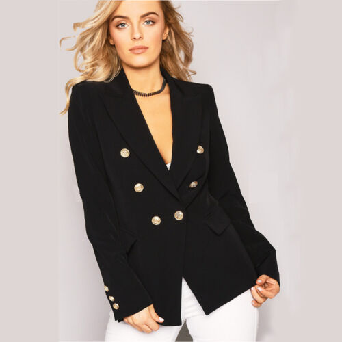 Womens Double Breasted Gold Button Front Military Blazer Coat Outdoor Jackets