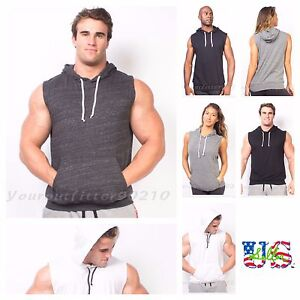 Men-039-s-Bodybuilding-Tank-Top-Sleeveless-T-Shirts-Hoodie-Muscle-Gym-Pullover-S-2XL