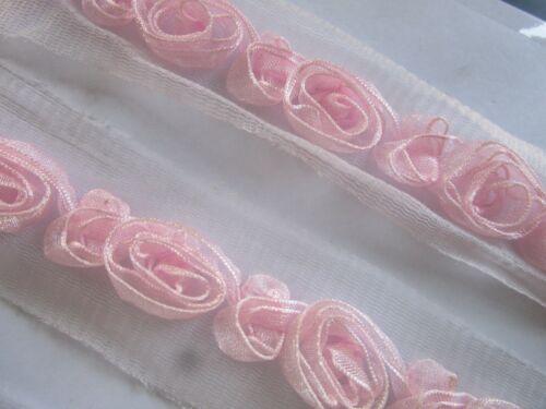 Netz Spitze Nichtelastisch  Rosa  3,6 cm breit Borte # BB 652