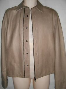 New-Pringle-of-Scotland-beige-leather-and-wool-jacket-S-RRP-1495