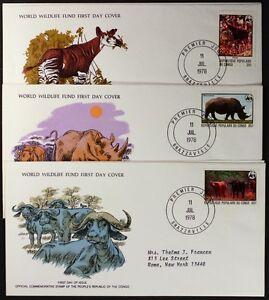 Z154-CONGO-1978-WWF-set-of-3-FDC-Animals-Rhino-Buffalo-Okapi