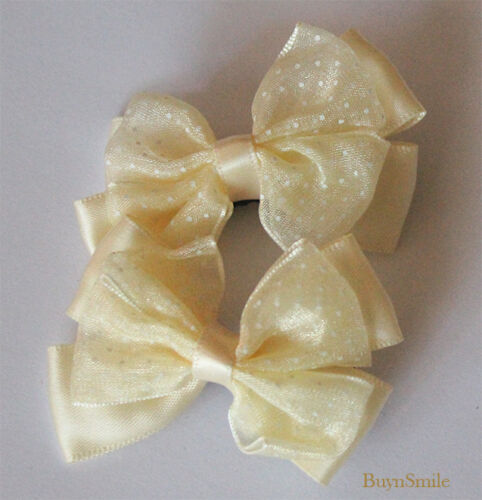 2 X HAIR CLIP BOW LACE ORGANZA CHRISTMAS BABY FLOWER