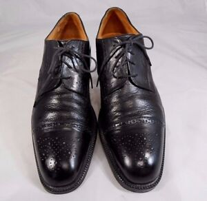 Johnson-amp-Murphy-Mens-Cap-Toe-Oxford-Sz-11-N-Lace-Up-Leg-Discrepancy-Left-Heel