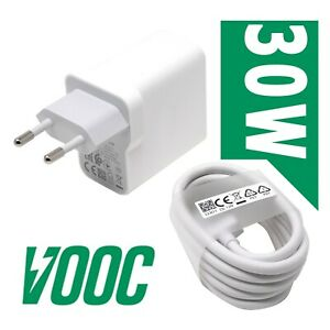 Caricabatterie-rapido-30W-cavo-90cm-USB-type-C-OPPO-Vooc-per-Find-X2-Neo-O9PV