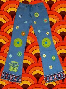 247✪ Selfmade 60er 70er Jahre Hippie Jeans Prilblumen Peace Schlager Festival