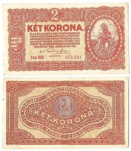 Hungary-2-Korona-1920-2aa-Reaping-farmer-P-58b