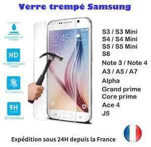 VERRE-TREMPE-protecteur-d-039-ecran-Samsung-Galaxy-S-A-NOTE-ALPHA-Prime-Ace-J5