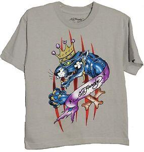 Boy-039-s-ED-HARDY-T-Shirt-Crew-Neck-Light-Gray-Grey-100-Cotton