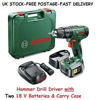 Cordless Hammer Drill 18v Lithium-ion 2 Battery Driver Diy Mens Birthday Gifts