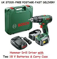 Cordless Hammer Drill 18v Lithium-ion 2 Battery Driver Diy Mens Birthday Gifts