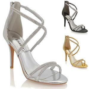 womens stiletto high heel diamante strappy ladies party
