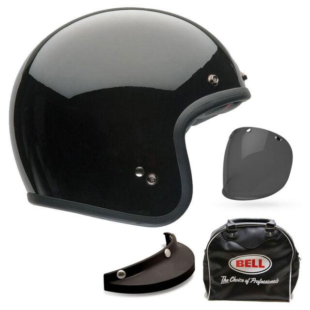 Bell Custom 500 Deluxe Gloss Black Open Face Motorcycle Motorbike Helmet