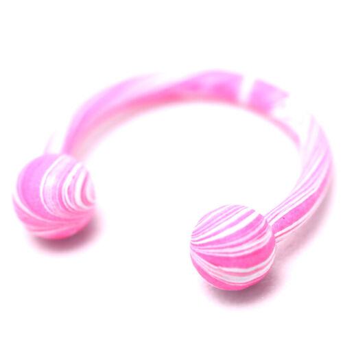 8x//Set Steel Ball Horse Shoe Bar Circular Ring Nose Ring Body Piercing Jewelr FG