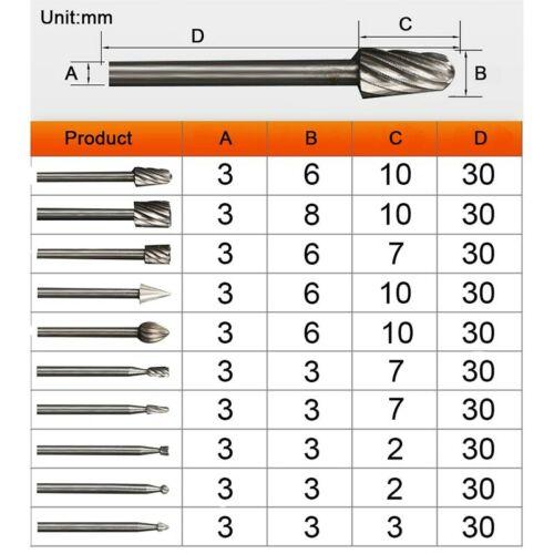 Metal Polishing Cut Carbide Rotary Set 10pcs//lot HSS Routing Router Bits burr