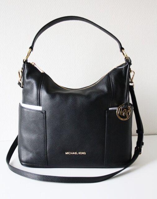 f05c4166dadf Michael Kors Convertible Shoulder Hobo Bag Anita Leather Black Large  35s7ga8l3l