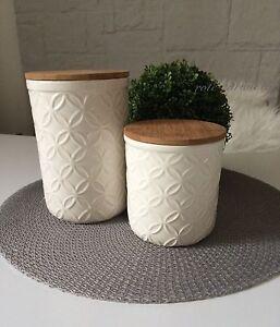 vorratsbeh lter vorratsdosen dose k che holzdeckel keramik bambus holz beh lter ebay. Black Bedroom Furniture Sets. Home Design Ideas