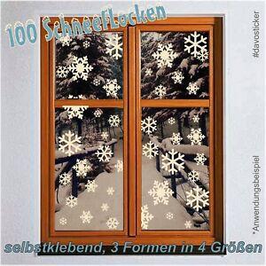 MEGA-SET-100-Schneeflocken-Fenstertattoo-Fensterbild-Aufkleber-Dekoration-Sterne