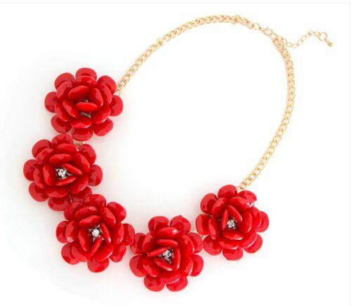 XXL collar Collier statement cadena flores de verano en el color rojo nuevo