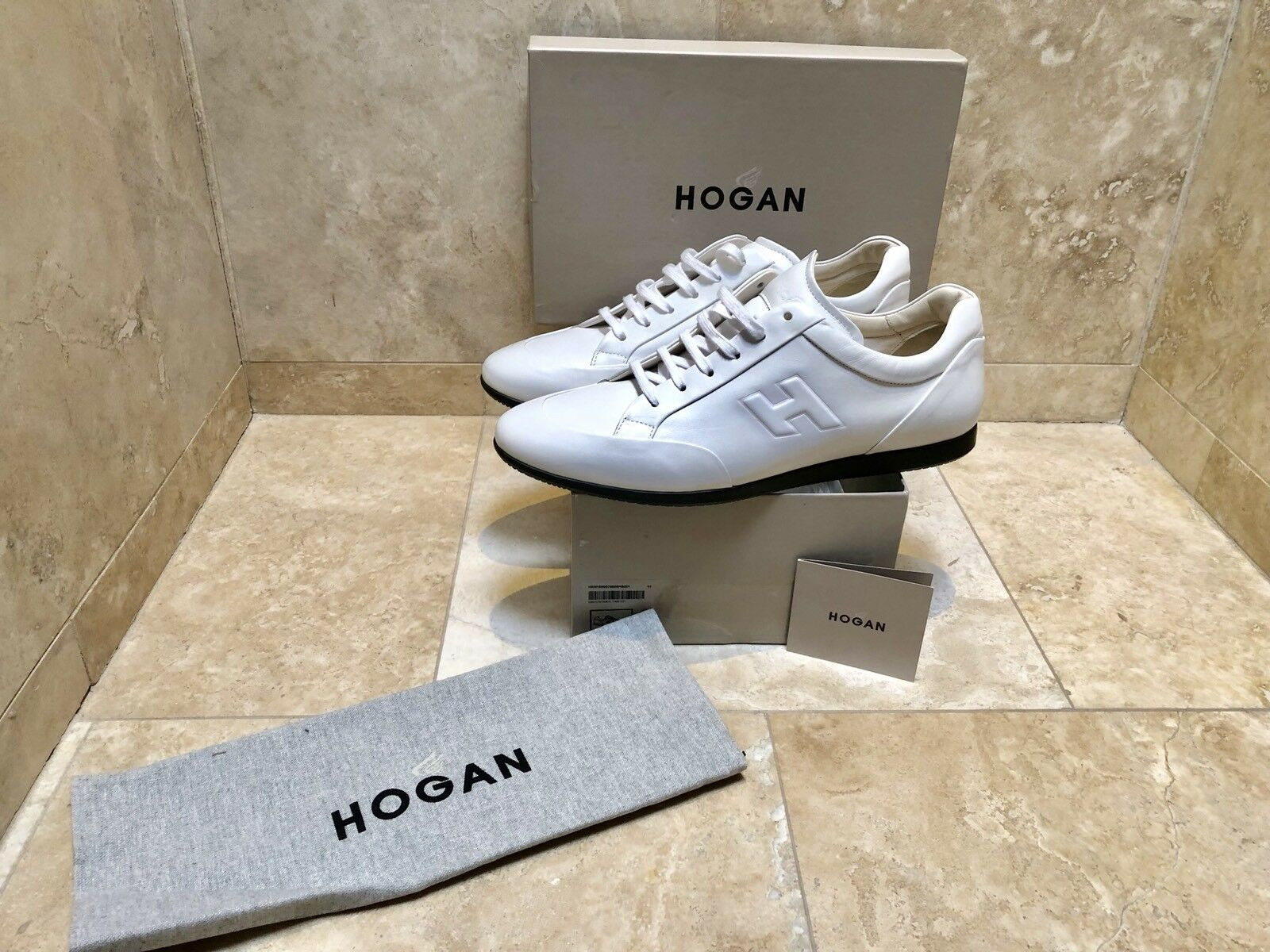 Hogan All White Pelle  Uomo 11/  13 Made In Italy