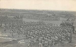 RPPC REVIEW MANEUVER CAMP TEXAS MILITARY REAL PHOTO POSTCARD 1911