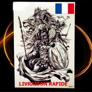 Faux Tatouage Temporaire Lion Gladiateur Guerrier Tattoo Homme Cadeau Animal Ebay