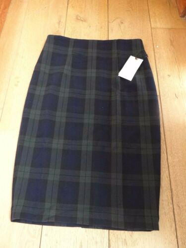 LILA ROSE SMART SLIM PENCIL SKIRT NAVY GREEN CHECK TARTAN UK 6 XXS LINED SLIT