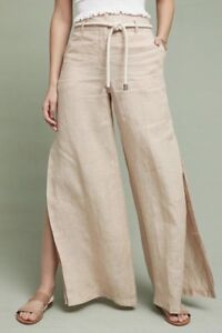 New-Anthropologie-Almond-Linen-Wide-Leg-Palazzo-Side-Slit-Pants-Size-6