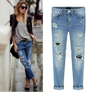 JEANS DESTROYED RIPPED DISTRESSED STRAIGH BOYFRIEND CROPPED WOMEN ...