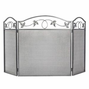 Amagabeli 3 Panel Pewter Wrought Iron Fireplace Screen Outdoor Metal Decorative