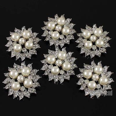 Lot 6 Beutiful Flower Iovry Pearl Clear Rhinestone Crystal Silver Brooch Pin