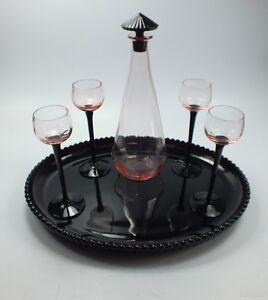 Art deco liqueurset karaffe 4 gl ser glastablett for Schwarzes glas