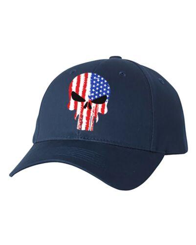 USA Military American Skull Flag Patriotic Mens Hat American Flag Adjustable Hat