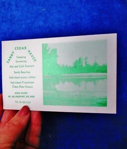 c-1960-70s-SANDY-CEDAR-HAVEN-Norm-Baker-FREEPORT-MAINE-Vintage-Camp-Ad-Card