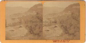 Bellagio Lago Di Como Italia Stereo Jean Andrieu Parigi Albumina Ca 1870