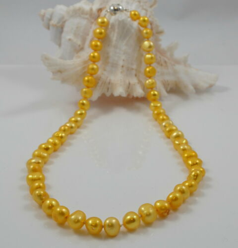Coloured Freshwater Baroque Pearl Necklace /& Rhinestone-studded Magnetic clasp