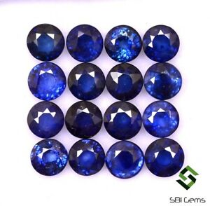 10-78-Cts-Natural-Blue-Sapphire-Round-Cut-5-mm-Lot-16-Pcs-Calibrated-Loose-Gems