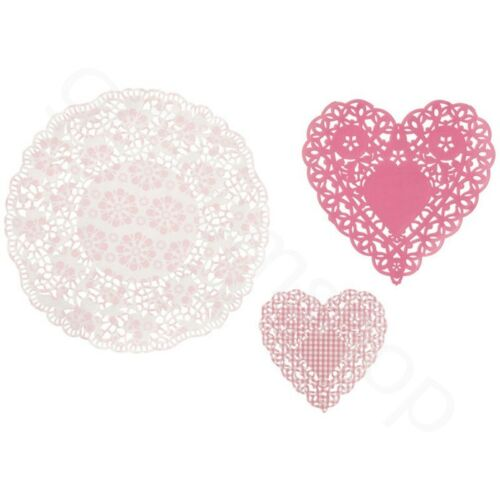 Vintage Lace Paper Doilies Doily Heart Round Wedding Birthday Tea Party Catering
