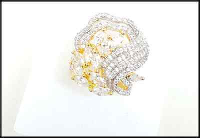 18K Gold Plated Marquise Diamante CZ Crystal Party Bridal Wedding Ring -Size N
