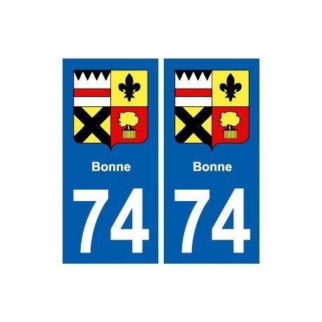 74 Bonne blason autocollant plaque stickers ville -  Angles : droits