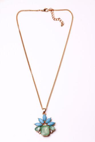CL21 LOVELY GORGEOUS CHAIN NECKLACE BLUE-GREEN FLOWER JEWEL PENDANT UNIQUE