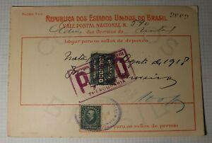 Brazil-POstal-Receipt-Card-Deposit-1918-Money-Order-SC-193-Revenue-Fee-100-000