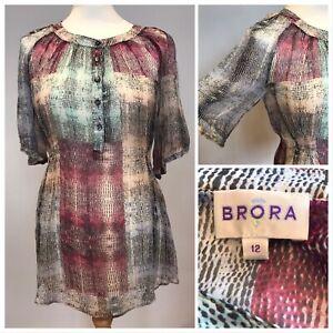 BRORA-Blouse-Tunic-Top-100-Silk-Vintage-Multi-Colour-Chiffon-Sheer-Size-12-VGC