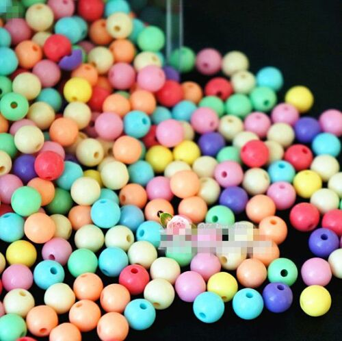 4mm 6mm 8mm 10mm 12mm Ball Spacer Pastel Color Acrylic Round Loose Beads