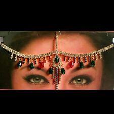 Haarschmuck Kopfschmuck Strass Stirnkette Tikka Bollywood Kopfkette Gold Indisch