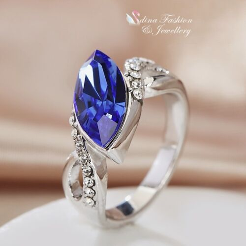 76bba7bfd 2 of 4 18K White Gold Filled Made With Swarovski Crystal Marquise-cut  Crossover Ring