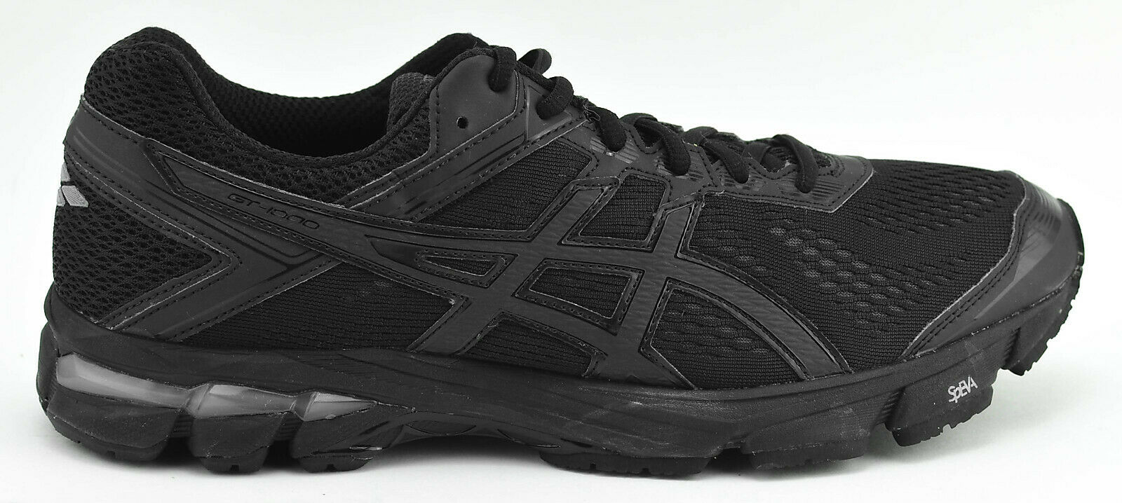 WOMENS ASICS GT 1000 4 RUNNING SHOES SIZE 13 D WIDE BLACK OUT T5A8N