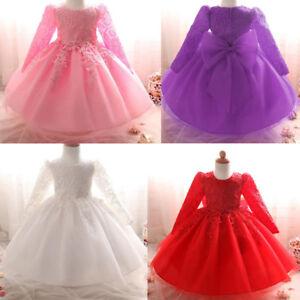 Newborn-Baby-Kids-Girl-Long-Sleeve-Christening-Party-Wedding-Princess-Tutu-Dress