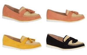 Ladies-Slip-On-Tassle-Suede-Flat-Loafers-Brogues-Slider-Summer-Womens-Shoes